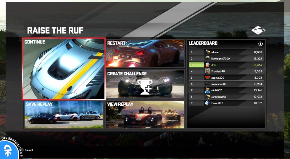 DriveClub - Raise the Ruf Challenge Leaderboard